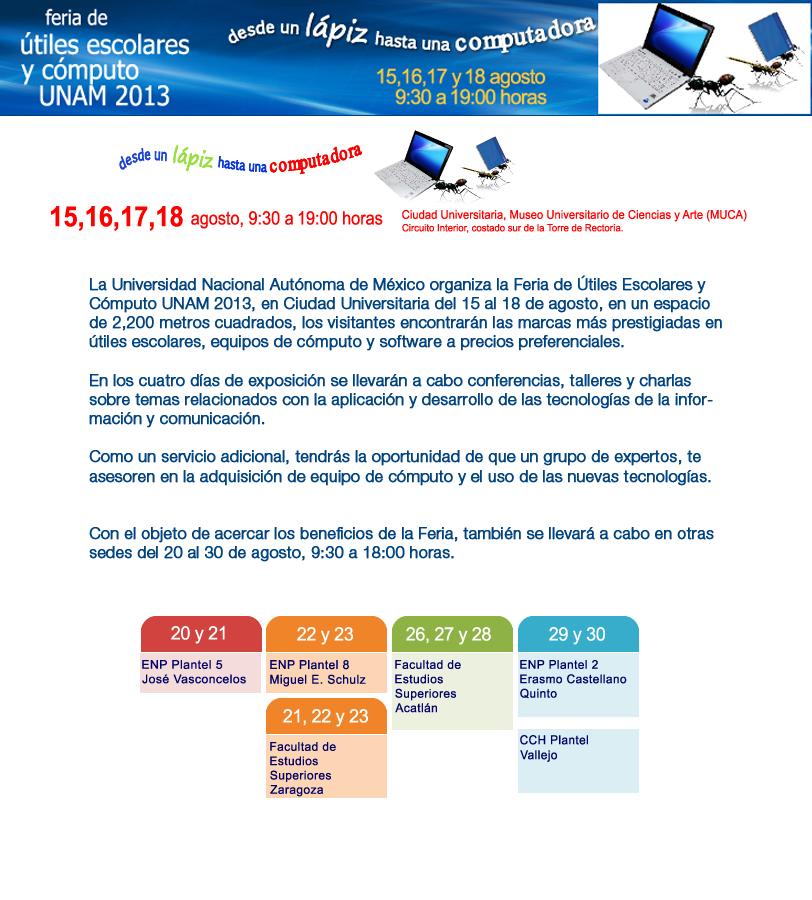 Feria de útiles escolares y cómputo UNAM 2013